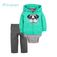 HIMIPOPO 3pcs Cute Dog Embroidery Baby Boys Girls Clothes Set Kids Hooded Cardigan Set Toddler Girls Bodysuits Children Set Pant