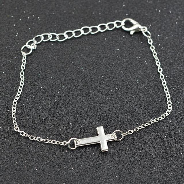 Love Stainless Steel Bracelet For Women Men Jewelry Horizontal Sideways Cross Bracelets Silver Charm