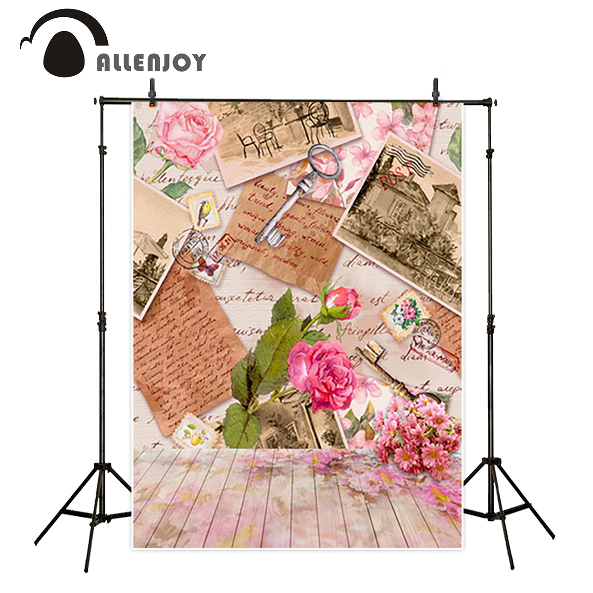Allenjoy vinyl backdrops for photography backdrop Flowers vintage key letter background vinyl Studio photo backgrounds allenjoy photography backdrops valentine s day love colourful heart wedding background for studio photo backdrop vinyl