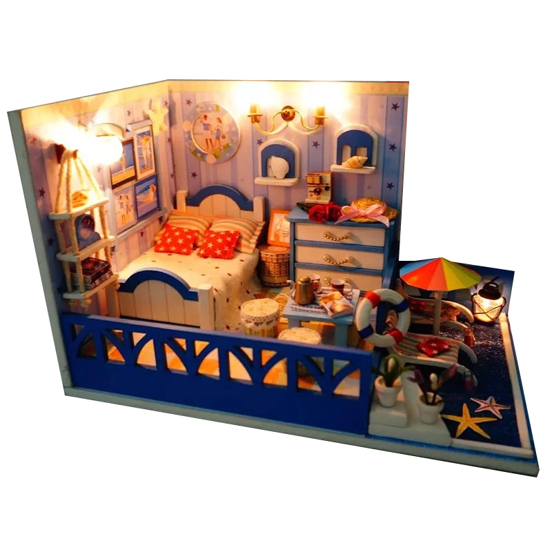 DIY Wooden Dollhouse Kits Miniature Furniture LED Light Doll House Aegean Sea Seaside House Birthday Gift Handmade Puzzle Toys