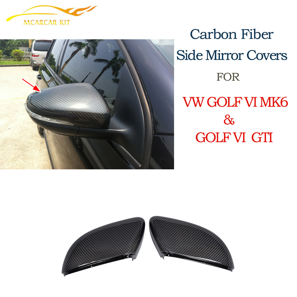 Replace style Carbon Fiber Side Mirror Covers Caps Fit For Volkswagon VW Golf VI MK6 & GTI 2010-2013 Car styling carbon fiber side wing mirror cover caps for volkswagen vw golf mk5 2005 2007