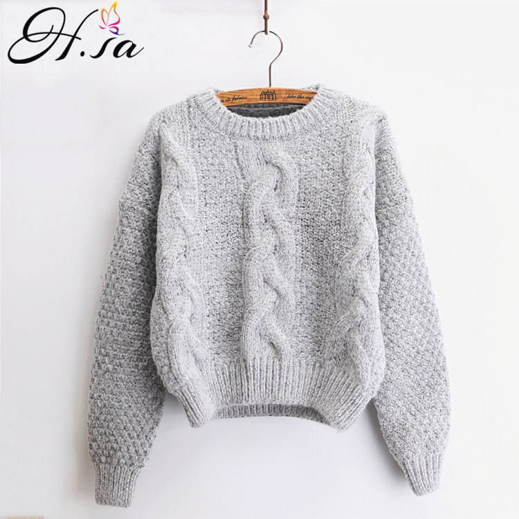 H.SA Women Sweaters Warm Pullover and Jumpers Crewneck Mohair Pullover Twist Pull Jumpers Autumn 2017 Knitted Sweaters Christmas(China)