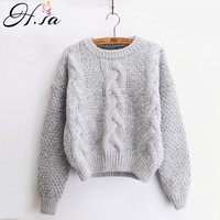 H SA Women Sweaters Warm Pullover And Jumpers Crewneck Mohair Pullover Twist Pull Jumpers Autumn 2017