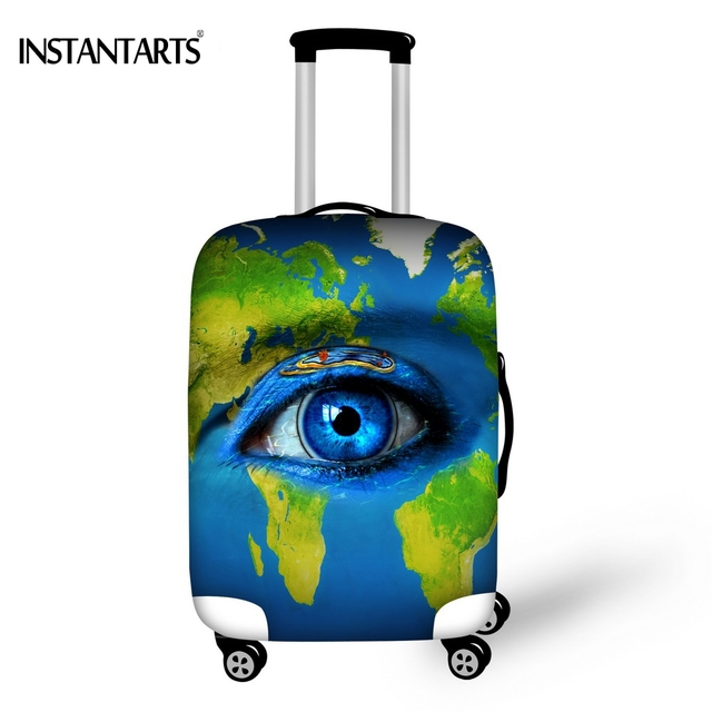 Instantarts blue world map eye print luggage protective cover for 18 instantarts blue world map eye print luggage protective cover for 18 30 inch trolley suitcase gumiabroncs Image collections