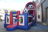 Joyinflatable 12X4X7 M Klasy PCV Plandeki Nadmuchiwane Piłki Nożnej Tematem Suche Slajdów z Dwoma Dmuchawy