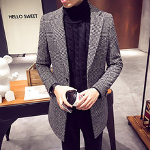Male Trench Coat Men 2016 Jacket Winter Men's Wool  Blended Coat Collar Design Cloth Thickness Long Slim Outwear Overcoat
