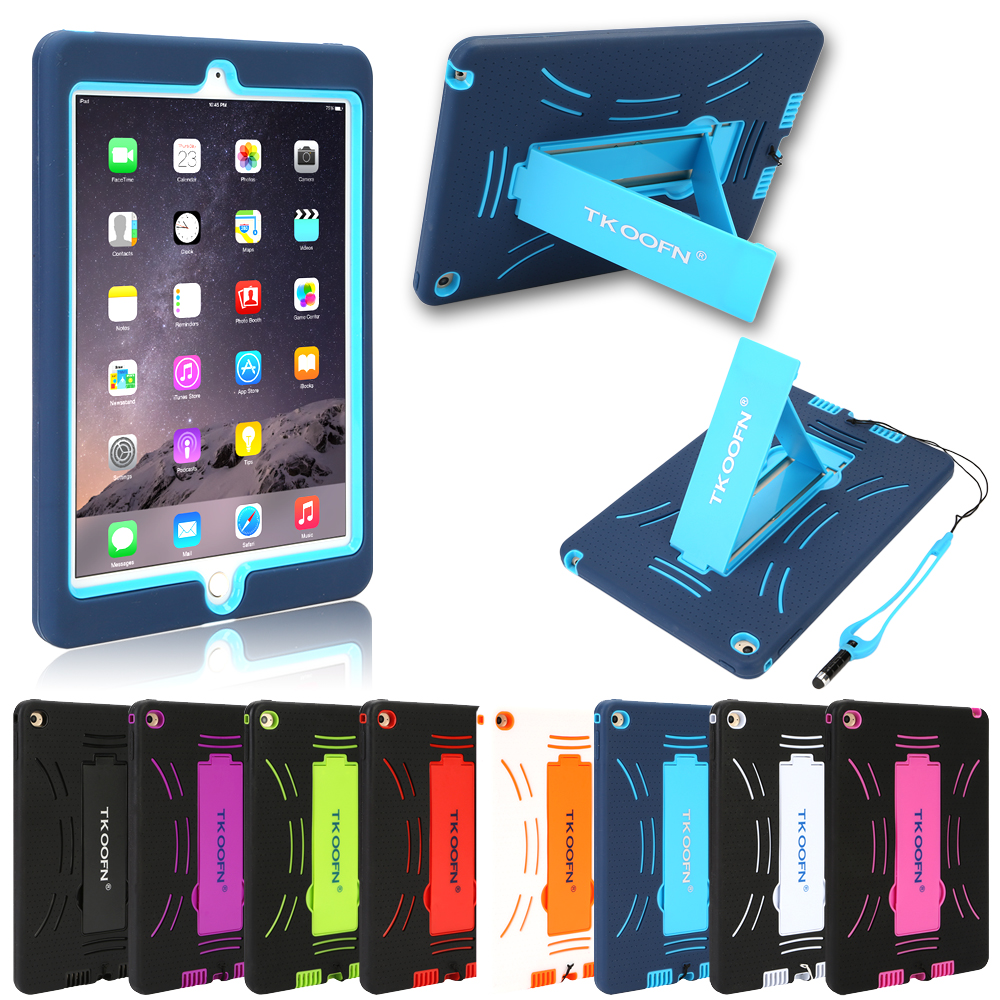 Tablet Case For Apple iPad Air 2 Armor Shockproof Heavy Duty Rubber Hard Case Cover with Stand With Free Film + Stylus + Cloth tablet case for ipad air 2 a1567 extreme heavy duty shockproof rubber cover with stand hard cover case for ipad pro 9 7 inch