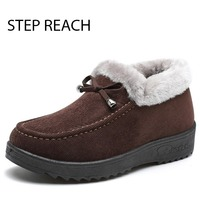 STEPREACH Brand Shoes Woman Winter Snow Boots Butterfly Knot Short Plush Ankle Boots For Women Bottine