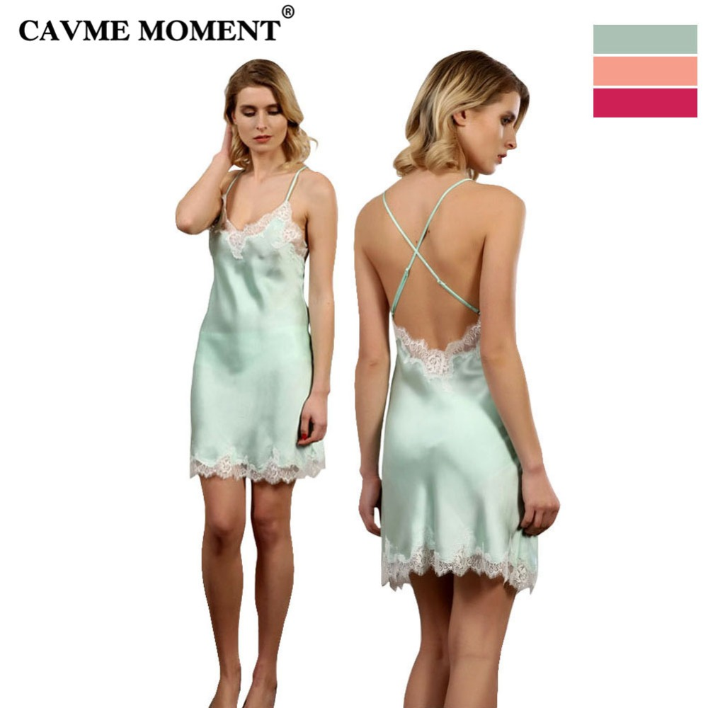 CAVME Luxury Summer Lace Silk Nightgowns Nightwear Sexy Women Ladies Spaghetti Strap Sleepdress Sleepshirts Solid Color Elegant
