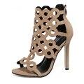 Последний тип женщин сексуальное открытым носком вырез сандалии на высоких каблуках леди лодыжки ремень обувь одного партия ночной клуб одиночные обувь оптом