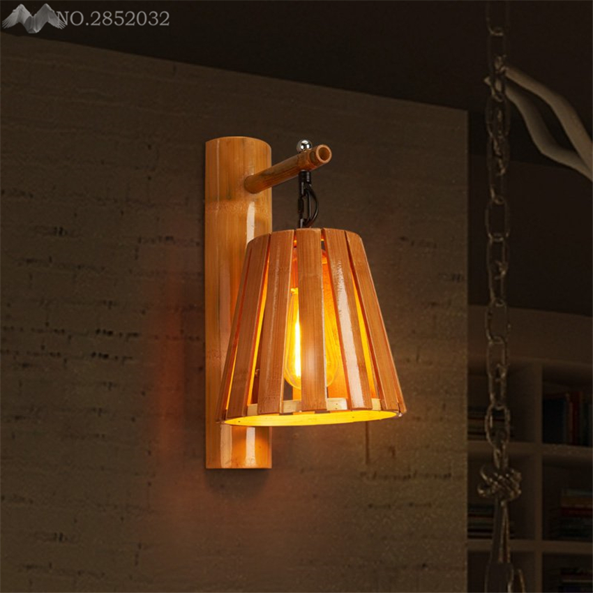 Nordic Creatieve Bamboe Wandlampen Emmer Wandlampen Voor Woonkamer Restaurant Cafe Slaapkamer Bar Home Verlichting Keuken Armaturen Met De Beste Service