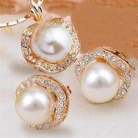 Heißer verkauf> Großhandel großhandel frauen Schmuck braut GP kristall shell perle anhänger halskette ohrringe set-Braut jewel