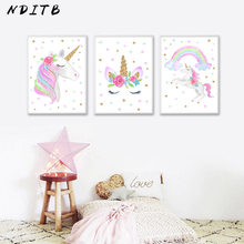 NDITB Cute Children Poster Rainbow Unicorn Canvas Wall Art Print Painting Decoration Picture Nordic Kids Bedroom Decor Gift(China)