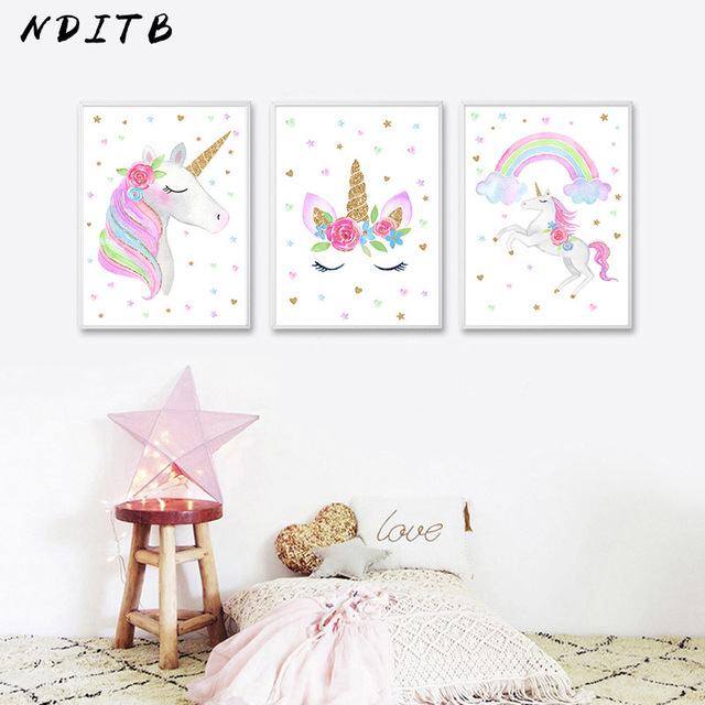 NDITB Cute Children Poster Rainbow Unicorn Canvas Wall Art Print Stunning Cute Kids Bedrooms Model Decoration