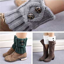 Leisure Fashion Winter Warm Button Crochet Knit Boot Socks Leg Warmers Socks For Women Lady 1 pair pair of stylish button lace embellished hemp flowers knitted leg warmers for women