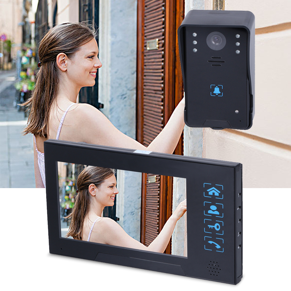 7'' LCD Wired touch Screen Video Doorbell Infrared night vision doorbell can choose chord music ringtone 7 inch video doorbell tft lcd hd screen wired video doorphone for villa one monitor with one metal outdoor unit night vision
