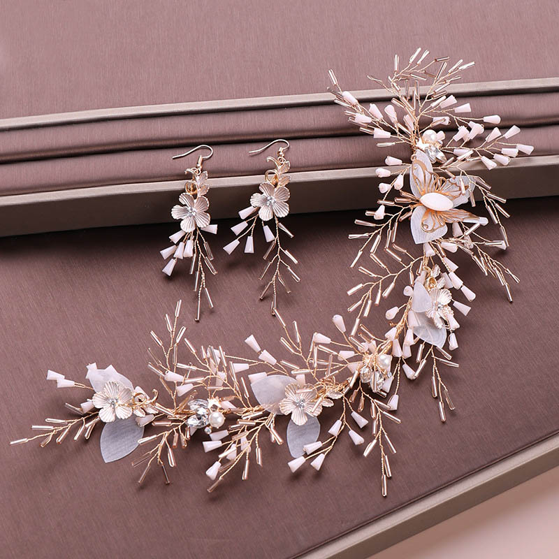 Gold Crystal Beads Headband Earrings Set Simulated Pearl Flower Tiaras Jewelry Sets Wedding Bridal Hair Ornaments Headpiece XH