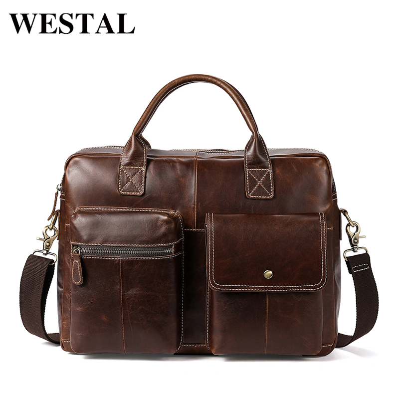 WESTAL Messenger Bag men's genuine leather men shoulder bag Casual Male briefcases laptop Crossbody bags for men handbags 7212 ograff genuine leather men bag handbags briefcases shoulder bags laptop tote bag men crossbody messenger bags handbags designer