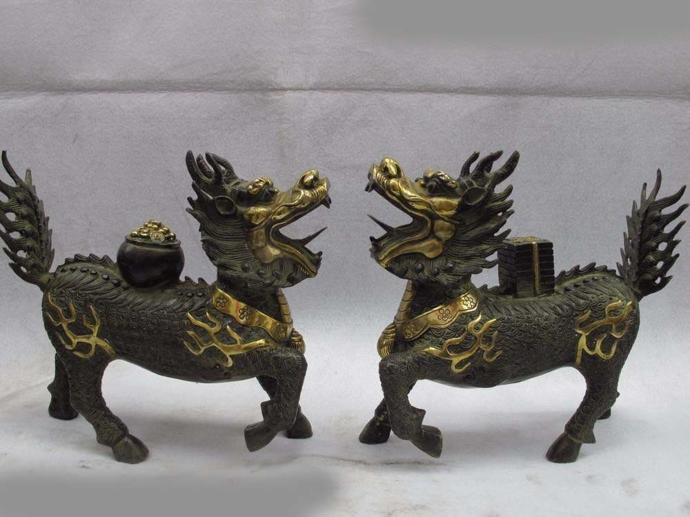 Chinese craftwork Brass copper Guardian Evil FOO Dog Lion kylin Feng Shui StatueChinese craftwork Brass copper Guardian Evil FOO Dog Lion kylin Feng Shui Statue