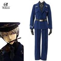 Customized Anime Axis Powers APH Hetalia Prussia Cosplay Costume Blue Navy Uniform