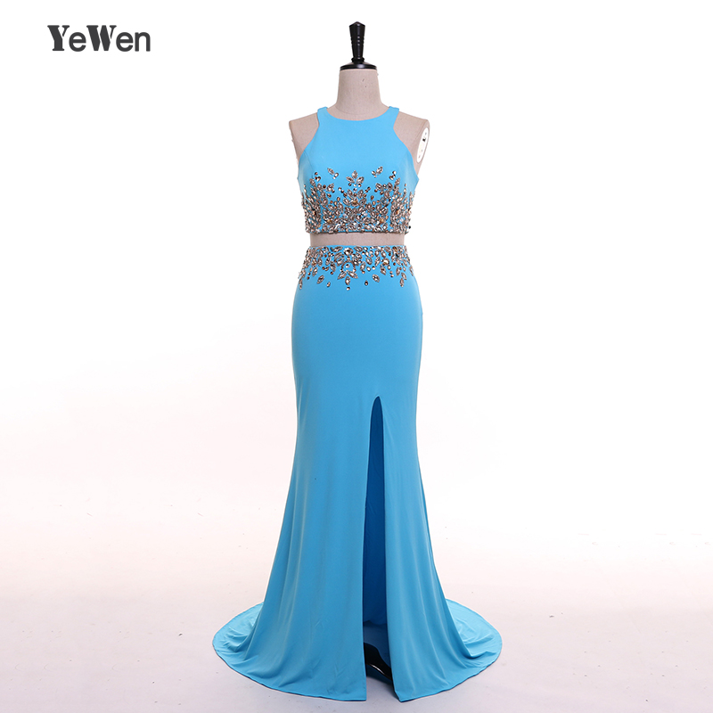 YeWen New Two Piece detachable skirt Beaded O-Neck Mermaid vestidos de baile Real Picture Prom Dress Long 2018 Evening Dress