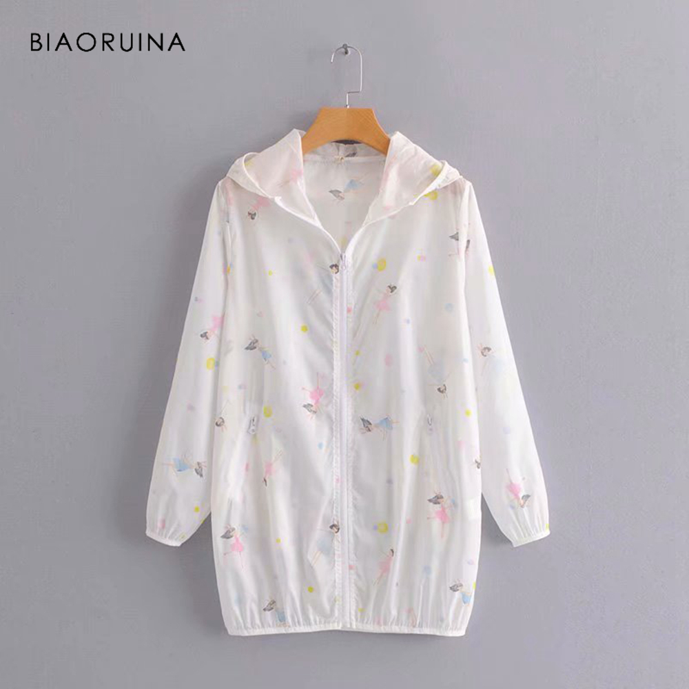 BIAORUINA Women Loose Straight Character Printed Hooded Sunscreen   Trench   Coat Female Sweet Summer Thin Outerwear Coats