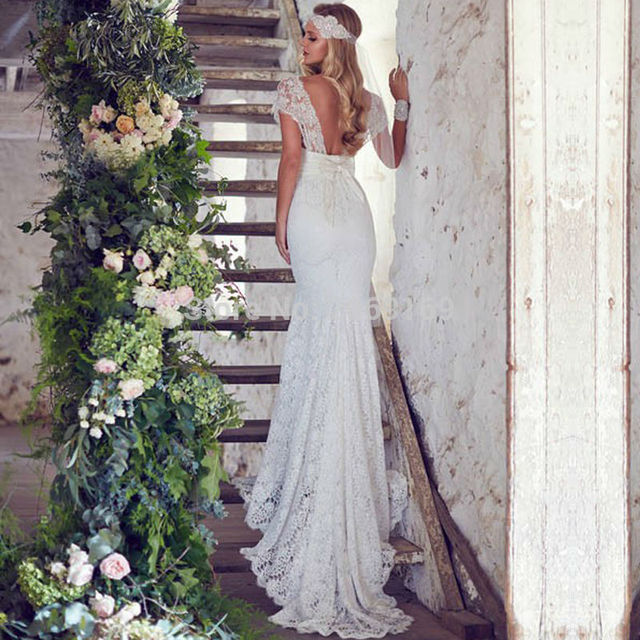 Anna Campbell Lace Bohemian Wedding Dress 2017 Sweetheart Sexy Backless Wedding Gown Cap Sleeve Mermaid Vestido De Noiva