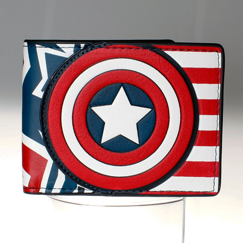 Captain America wallet men and women fashion personality brief paragraph large metal logo PU wallet  DFT-1516 captain america black metal badge bi fold wallet faux leather dft 1413