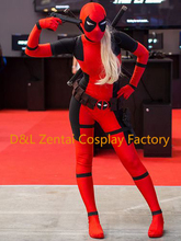 Free Shipping DHL Lady Deadpool Costume Red & Black Spandex Girl Women Female Heros Deadpool Zentai Suits For 2016 Halloween