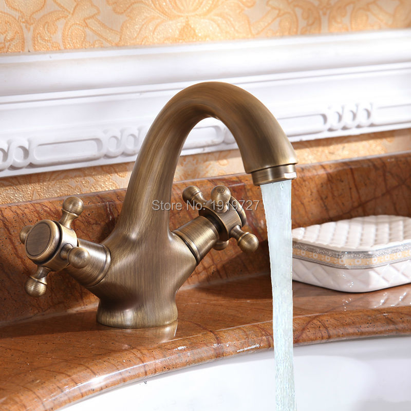 ФОТО Luxury Classic Antique Inspired Solid Brass Deck Mount Two Handles Bathroom Sink Faucet Unique Designer Vanity Copper Mixer Taps