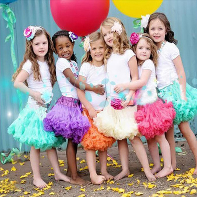 Tutu skirt 2017 kids clothes baby girl veil solid cheap dance skirts for 10 years children princess party tutu skirt