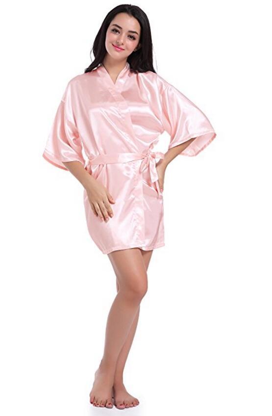 RB032 2018 New Silk Kimono Robe Bathrobe Women Silk Bridesmaid Robes Sexy Navy Blue Robes Satin Robe Ladies Dressing Gowns