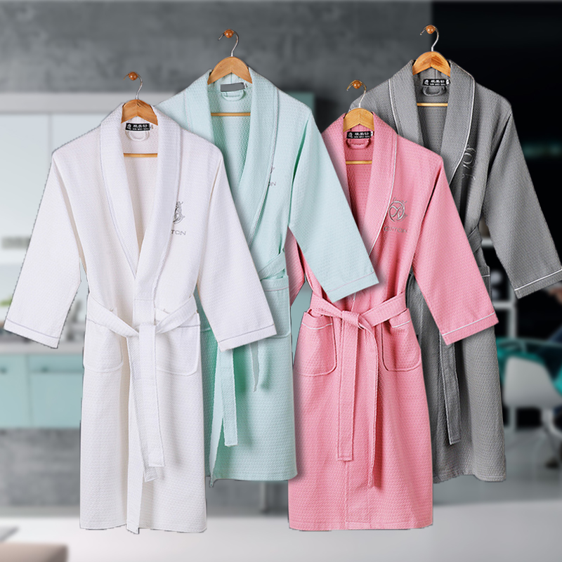 Waffle Cotton Bathrobe Men Summmer Long-sleeve Mens Robe Sweat Evaporate Couples Kimono Bath Robes Hotel SPA Robes Dressing Gown