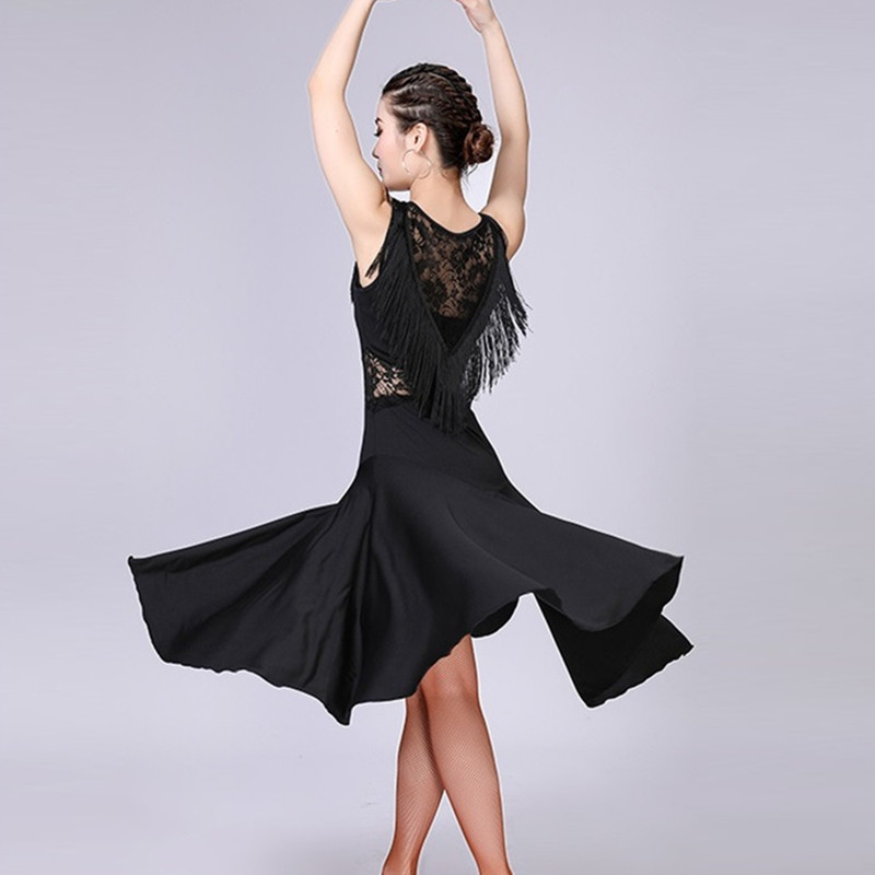 Sans manches latine robe gland latine robe de danse femmes samba costumes de danse tango latine salle de bal robe latine pratique porter