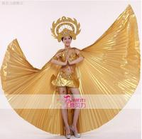 2017 Новый Модный Набор костюма для танца живота испанское танцевальное платье тайский танец золотые крылья