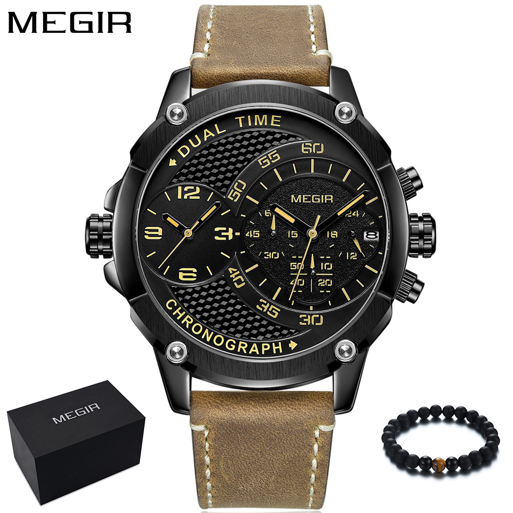 MEGIR Men Watches 2018 Luxury Brand Men Quartz Watch Leather Big Two Time Zone Military Army Sport Wristwatch Clock reloj hombre megir watch luxury quartz men wristwatch stainless steel strap band hour time clock casual male man sport army military watches