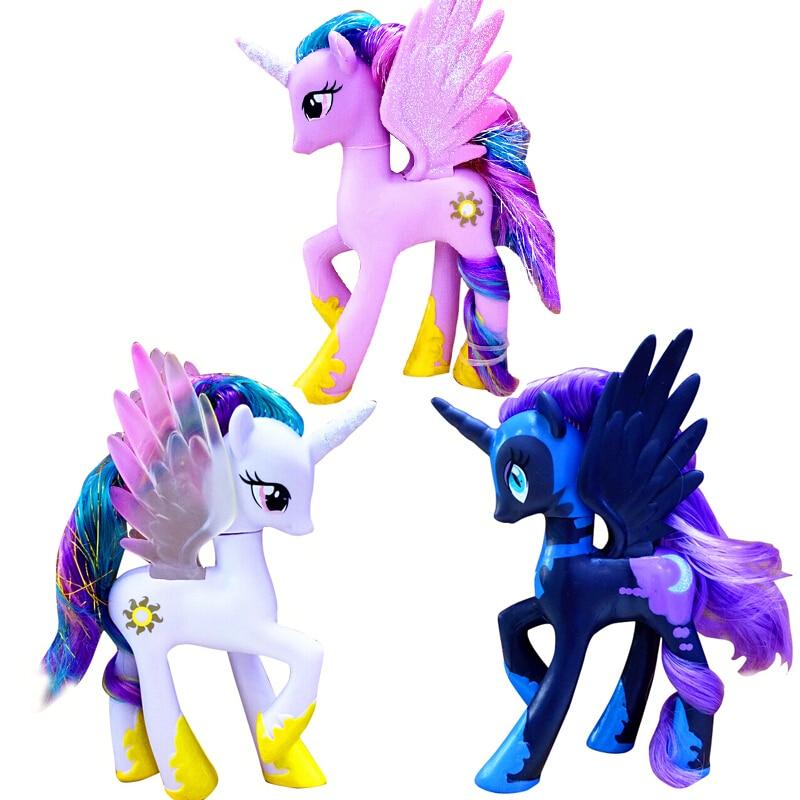 14cm My Little Pony Toys Friendship Is Magic Pop Pinkie Pie Rainbow Princess Celestia PVC Action Figures Collection Model Dolls