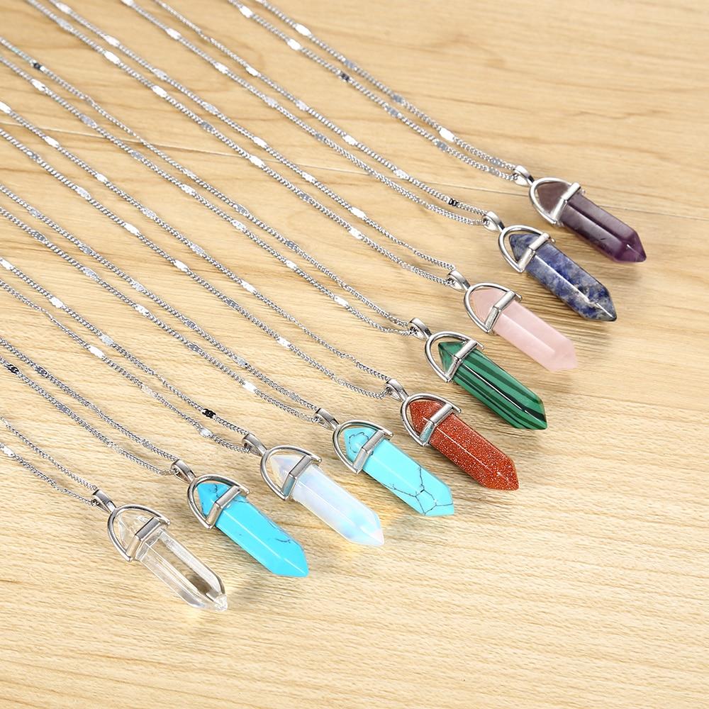 2016 Hot sale Hexagonal Column Quartz Necklaces Pendants Vintage Natural Stone Bullet Crystal Necklace For Women Fashion Jewelry