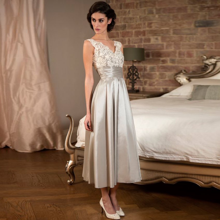 Elegant tea length silver lace satin bridesmaid dresses for Cheap wedding dresses tea length