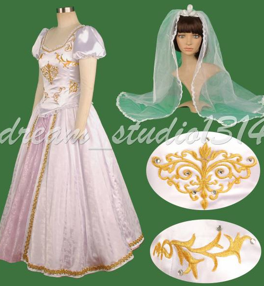 Free Shipping Custom Tangled Beautiful Rapunzel Princess Wedding Dress Costume Cosplay For Party Christmas On Aliexpress Alibaba Group