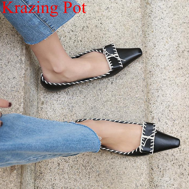 Krazing Pot pointed toe genuine leather butterfly knot shallow elegant brand women flats slip on ballet