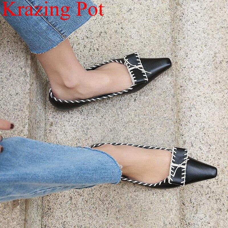 Ayakk.'ten Kadın Topuksuz Ayakkabı'de Krazing Pot sivri burun hakiki deri kelebek düğüm sığ zarif marka kadın daireler kayma bale dansçısı sürüş ayakkabısı L73'da  Grup 1