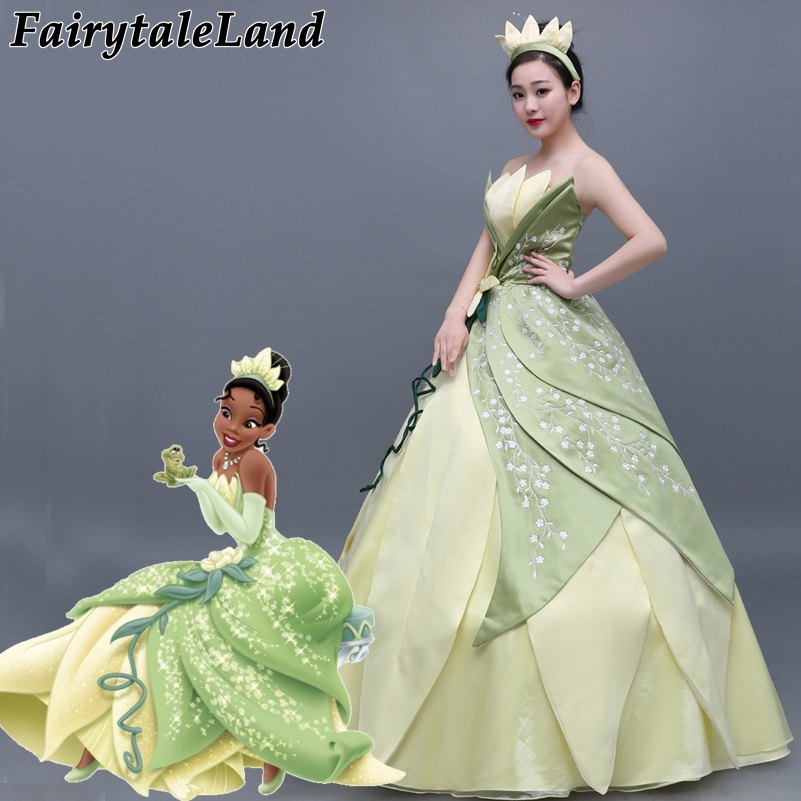 Embroidery Princess Tiana Dress women Fancy cosplay Halloween Costume custom made The Pr ...