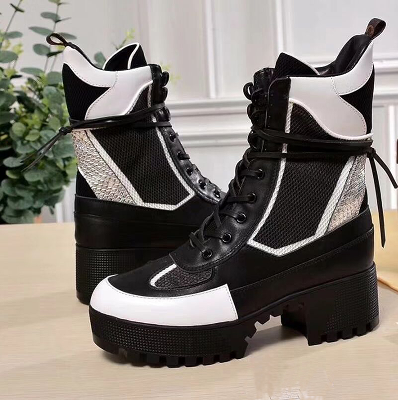 Talon Up Feminino Cuir En Mujer Plate Lace Zapatos Pic D'hiver Cheville As Bottes Sapato Femmes Med High Pic as Militaires Pour Top forme qPwxpWCcft