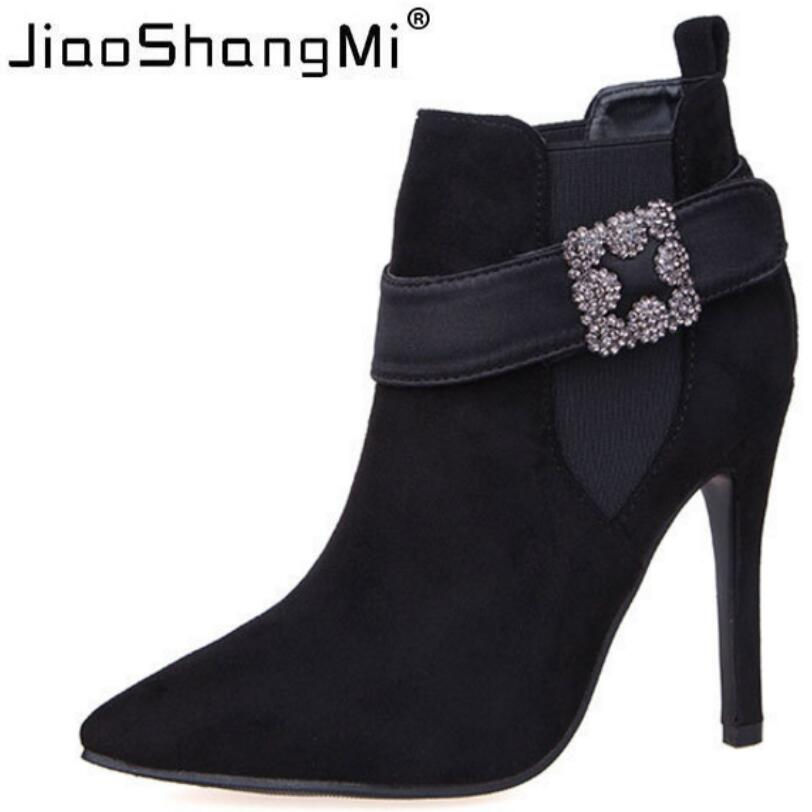 Black Pointed Toe Thin Heels Ankle Boots Women Square Buckle Crystal Short Boots Heel 2017 Autumn Winter Fashion Shoes Woman 2016 custom made fashion brown short ankle boots for women pointed toe lace up platform thin heels stiletto ladies buckle boots