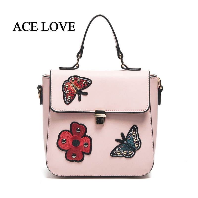 ФОТО 2017 New Designer Women Handbags Women Leather Flower Butterfly Printed Tote Shoulder Bag Women's Pouch Famous Ladies Flap Bag