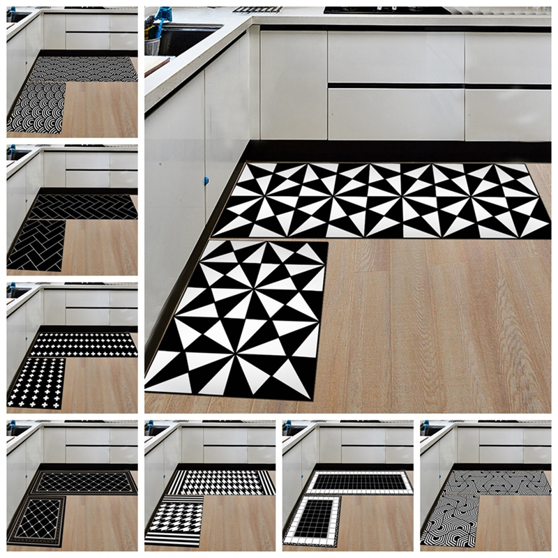 Nordic Slip Resistant and washable Kitchen Mats with Creative Geometric Print for Kitchen Floor 1