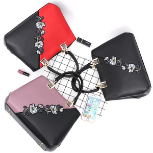Image 3 - ファッション女性のハンドバッグpuレザー刺繍バッグブランドの高級ショルダーバッグヒットカラートップハンドバッグ花メッセンジャーバッグ