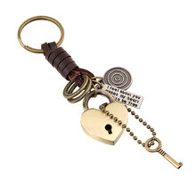 men's leather retro punk Keychain alloy key pendant punk Leather Key Chain(China)