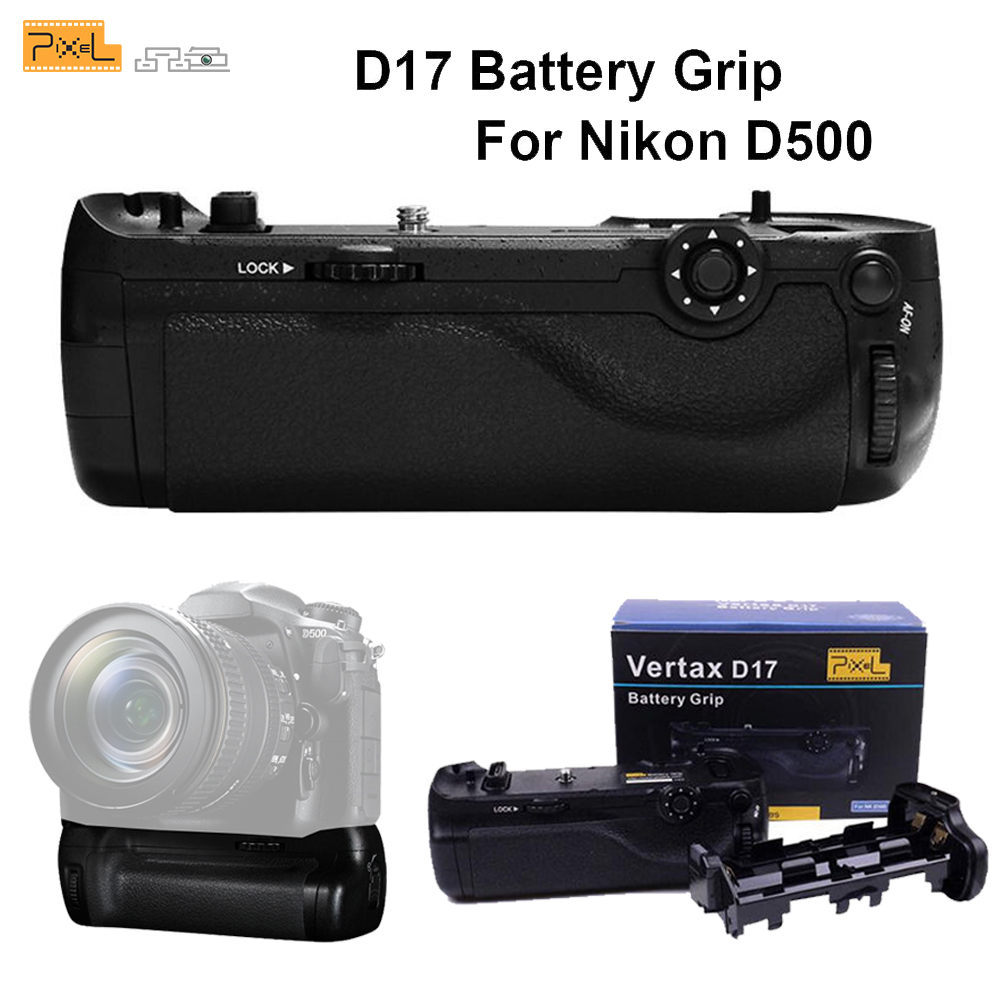 Professional Battery Grip Pixel Vertax D17 for Nikon D500 Compatible with EN-EL15 Battery and AA Battery(Replacement for MB-D17) pixel vertax d17 professional battery grip for nikon d500 compatible with en el15 or aa battery replacement for nikon mb d17